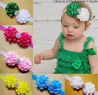 Wholesale Baby Kids Hair Accessories Rhinestone Double Ribbon Flowers Headband Hairbands Hairwrap