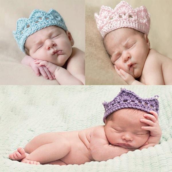 1PCS Newborn Baby Knitted Crochet Crown Blue/Pink/Purple/Orange Tiara Photo Prop 2-10 Free Shipping(China (Mainland))