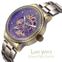 SHENHUA Classic Watch Man Bronze Skeleton Watches Auto Mechanical Wristwatch Free Ship