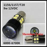 50pcs High Power 1156/1157/T20 7440 7443 Car High Power 9W Lights backup lamp bulb White LED Reverse Bulbs