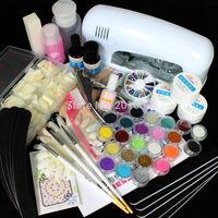 XL Set UV Gel Nail Art Manicure Glitter Rhinestone with Glitter Brush Files Tips Book 9W Lamp Dryer AU EU US plug for choose