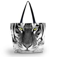 Cool Tiger  Ladies Womens Soft Foldable Zip Shoulder Shopping Tote School Sport Bag Handbag Beach Bag Free Shipping