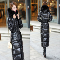 Camouflage large fur collar thickening ultra long ultra slim down long coat female fashion warm beautiful  winter