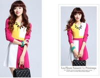 P60297 patchwork classic fashion color block decoration long-sleeve dress