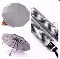 Male and female stripe automatic umbrella UV protection windproof sun rain folding umbrellas