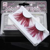 Stage makeup arts crimson feather false eyelashes thick slim models F071