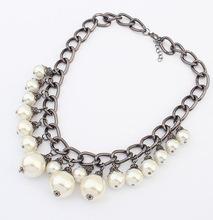 Mother s Gift New 2014 Jewelry Ethnic Pearl Shape Imitation Rhinestone Necklace Pendants Collar Choker Necklace