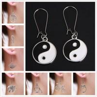 (Min order $10) Fashion vintage silver earrings for women long earring New Arrival Retro Handmade Jewelry