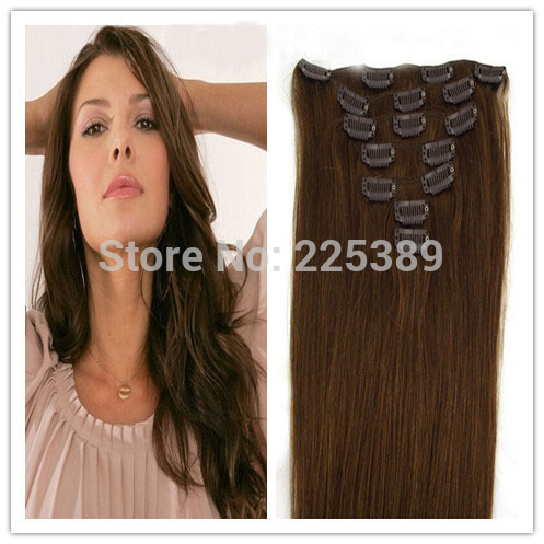 Brazilian Virgin Remy Clip in Hair Extensions, Silk Straight, 6# Color,70g per set,7pcs per sets, Free Shipping(China (Mainland))