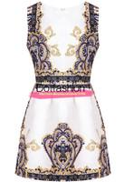 New Designer 2014 Summer Women's Sexy Brand Celebration High Fashion Blue Sleeveless Vintage Floral Jacquard Vintage Dress