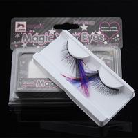 Stage makeup art form of eye feather false eyelashes lengthening black blue pink feathers models F086