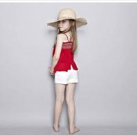 2014 new 100% cotton red camis girl summer children's clothing flower girl's tops fashion kids t-shirt sleeveless