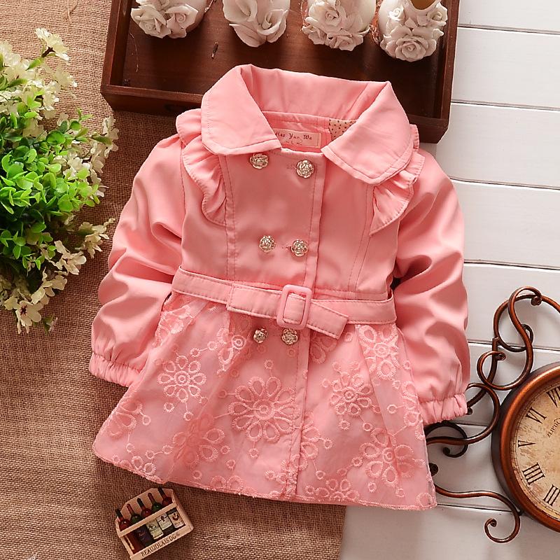 Girls cardigan, children's coat children pink cotton Lace kids clothing,Spring Autumn Jackets Size 2-5(China (Mainland))