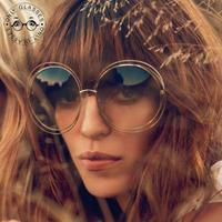 2014 hot selling Sunglasses Fashion Only Glasses Retro Round lens Sunglass women men brand Designer oculos de sol