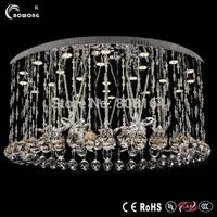 modern stainless steel crystal ceiling light