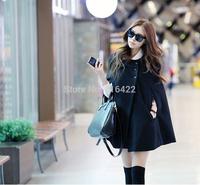 2014 new Fashion Women's Black Cape Wool Poncho Jacket Winter Warm Cloak Coat Free Shipping   A128