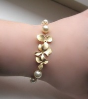 Pearl Orchid Bracelet - Rhodium Plate Cascading Flower With Cream Pearls Bracelet