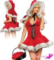 Christmas dress  with cape nightclub costumes / costumes / RPG / uniform temptation Freeshipping