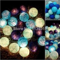 20pcs String Light Cotton Ball Fairy Party Wedding Decor Patio Home Tone Christmas Dark-light blue