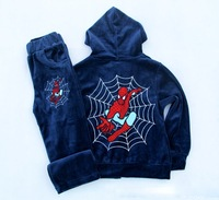 Free shipping  2014 Children's Clothing  Boys  Clothing Sets  Boys velvet suit  Spring and Autumn  spiderman suit  95% cotton