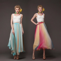 2014 New Fashion Women's Summer Multi-colored Tapestry Bohemia Female Skirts With Belt