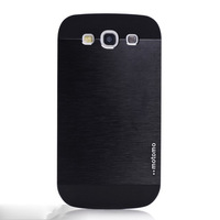 For S3 Motomo Brushed Aluminum + PC Back Case for Samsung Galaxy S3 SIII i9300 i9308 i 9300 Smart Phone Cover 1pcs/lot