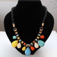 accessories fashion female fashion color gem drop pendant short design necklace