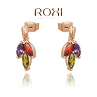 Roxi jewelry earring austria crystal three-color petals gold plated stud earring   2020815465