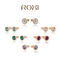 Roxi jewelry earring austria crystal gold plated xuelian flowers stud earring  2020014210
