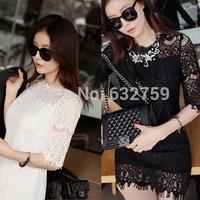 2014 lace one-piece dress short  slim hip  sexy basic half sleeve