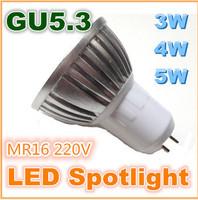 High Power GU5.3 MR16 220V 3W 4W 5W LED Bulb light ceiling Energysaving Spotlight lamp 110V 220V warm pure cold white