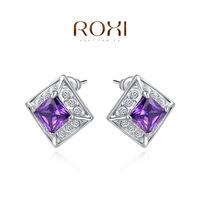Roxi jewelry earring austria crystal platinum square purple diamond stud earring  2020123460