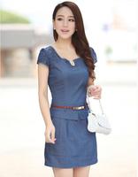 Lace Denim Dress Women fashion OL Casual Denim dress with belt Party Stylish ladies jeans Dresses Size:M-XXXL