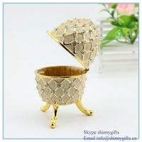 Shinny Gifts wholesales Gray Faberge easter Egg Trinket Box  Austrian Crystal Jewelry Box free shipping