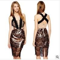 Three Floor Dress 2014 New Women Lace Eyelash Dress Sexy Black Strip Cross ,Sleeveless Spaghetti Strap Backless Slit  Hem Dress