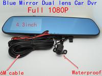 4.3inch Full 1080P Blue/white Mirror Car camera Rearview Mirror waterproof Parking Back Up DVR G-sensor H.264 Dual Lens Car DVR