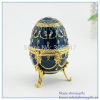 Shinny GiftsHand-Painted Rich blue Vintage Faberge Egg with Gold Finish, Rhinestones, Enamel Jewelry Trinket Box free shipping
