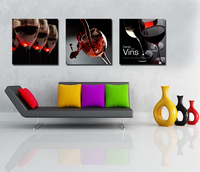 3 Panel modern wall art home decoration frameless oil painting canvas prints pictures P24 still life wine glass paintings