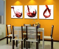 3 Panel modern wall art home decoration frameless oil painting canvas prints pictures P25 abstract red wine glass paintings