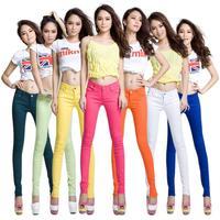 Seven Seas Sale 2014 Fashion Women Candy Colors Pencil Pants Spring Autumn Sexy Fit Jeans Plus Size Casual Trousers