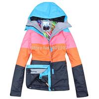 2014 womens ski jacket mixed color snowboarding jacket ladies waterproof breathable orange black snow parka skiwear anorak XS-L