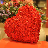 36CM 14.2'' Free Shipping Full Silk Rose Flower Love Hearts Lovers Cushion Pillow Valentine's Day Gift Birthday Gift Retail