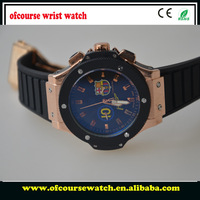 1 Pcs Free Shipping 2014 Men Watches HB Rubble Classical Brand Rose Gold Trim Chronograph Watches