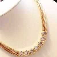 Metal gold trend Acrylic created diamond chunky choker statement necklace pendant & necklace lady women jewelry JZ154