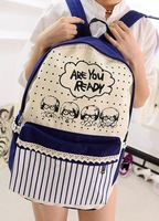 high quality 2014 boutique selling sexy women lace striped shoulder canvas backpack school bag lady satchel bagpacks