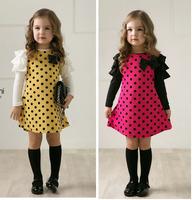 New 2014 autumn /spring children clothing girls polka dot dress long-sleeve kids clothes girls princess dress Free shipping