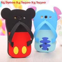 Free ship! Cute Minnie Case for Samsung Galaxy I9300 S3 Mickey Slipper Case For I9500 S4 Soft Stitch Marie Cat Cover S5 I9600