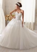Sweetheart Neckline Exquiste Beadings Bustband Swollen Waistband Ball Gown Corset Back Wedding Dress 2014