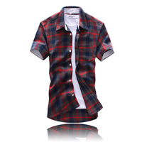 2014 NEW 7 color fashion leisure summer  men's slim Classic grid short sleeves cowboy shirt  Y0360