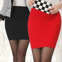 Free Shipping 2014 Summer Fashion Women Girl Mini Short Skirts Tight Hip Package Hip Skirts Pack Skirt Waist Pleated Free Size